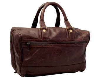 Vintage, Brown Leather Handbag, Top Handle Bag, Purse