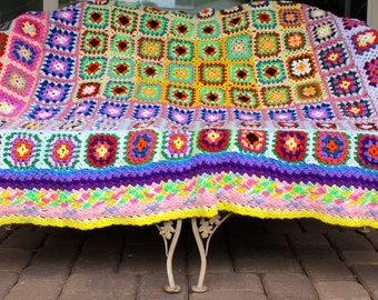 """Cheerful Granny Square Afghan Coverlet 78"""" x 82"""""""