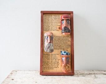 Vintage Folk Art - Hand Carved Folk Art Handmade Folk Art MidCentury Art Cabin Decoration Cabin Artwork Heads Novel