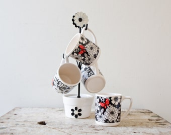 Vintage Flower Mug Set with Holder - Japan Flower Mugs Flowers Cups Ceramic Mugs Vintage Pottery Coffee Tea Artwork