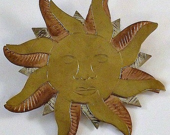 Vintage Tri-colour Sun Brooch