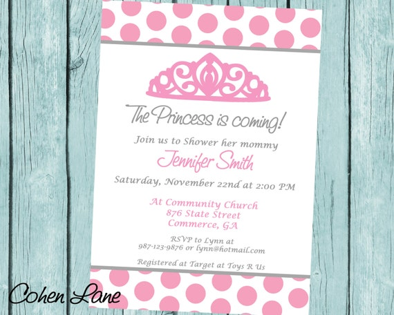 Princess Baby Shower Invitation. Printable Baby Girl Shower ...