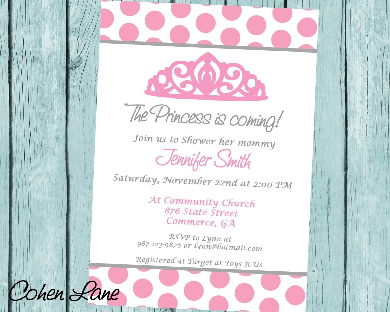 princess baby shower invitation printable baby girl shower