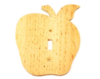Wood Apple Light Switch Cover to Paint, Unfinished Wooden Apple Switch Plate, Kitchen Wall Decor itsyourcountry