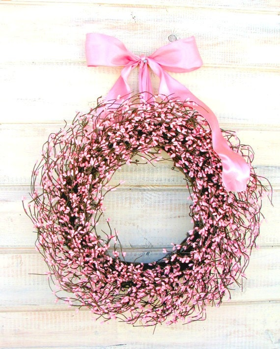 Breast Cancer Wreath-Breast Cancer Awareness Month-Shabby Chic Wedding Decor-PINK Wreath-Pink Decor-Its a Girl-Baby Shower Gift-Baby Nursery