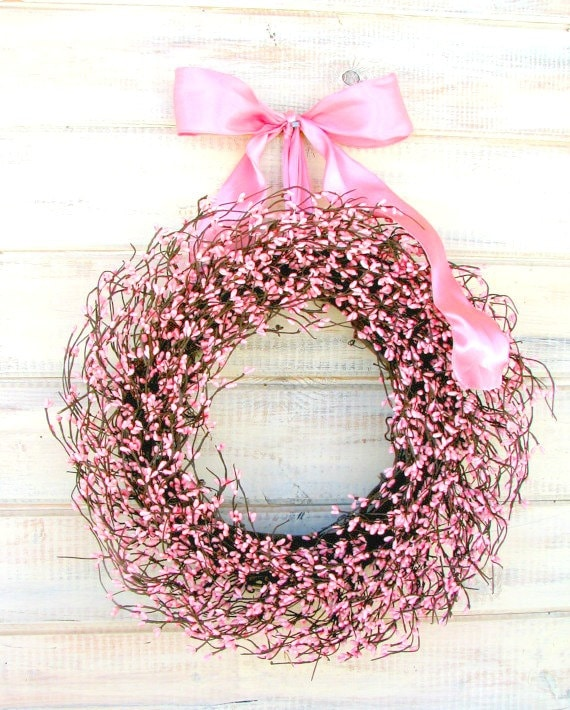 Summer Wreath-Shabby Chic Wedding Decor-PINK Wreath-Girls Bedroom Decor-Its a Girl-Baby Shower Gift-Baby Nursery-Breast Cancer Awareness