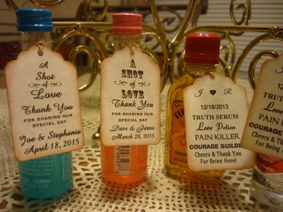 50 CUSTOM Liquor Bottle Tags Gift Shower Wedding Favor Vintage Style Personalized Thank You Labels Hang 2500