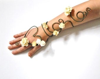 Arm cuff slave bracelet heart shape and flowers Bride Valentine whimsical wedding accessorie