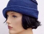 Assymetrical retro hat, navy blue felt cloche, 1920s inspired hat, art deco fashion, 20s accessory, winter hat