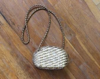 Metallic Leather PURSE / VIntage Basket Weave Crossbody Bag / Small 90's Handbag