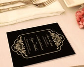 Elegant and Sophisticated Save the Date Card with Timeless Border, Black and Gold, White and Gold, Custom Colors Available