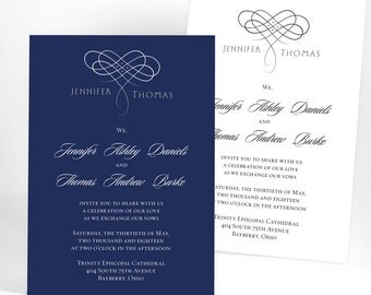 Unique calligraphy wedding invitations, classic traditional wedding announcements with swirls, affordable wedding invites