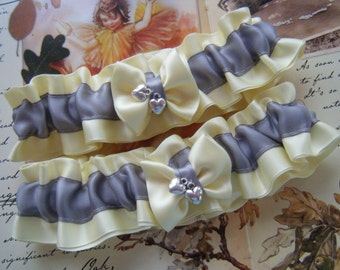 Yellow and Silver Satin Garter Set