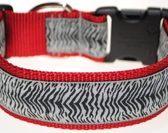 "Zebra Black, and White - Adjustable 1 1/2"" Wide Dog Collar"