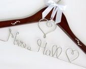 Personalized Wedding Hanger with Crystals and Heart Charm, Dress Hanger, Name Hanger, Wedding Gift