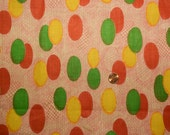 Vintage 1950's Cotton  Red, Green, Yellow Ovals on Pink Background
