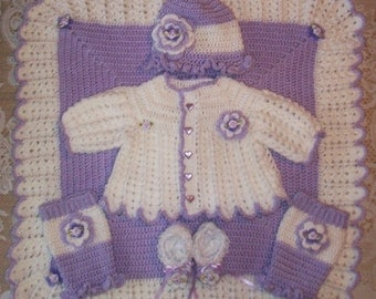 Crochet Baby Girl Lavender Sweater Set Layette Blanket,Ruffle Hat,Legwarmers and Booties Perfect for Baby Shower Gift or Take Home Outfit
