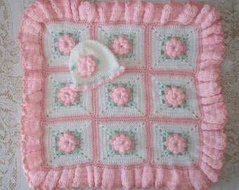 Crochet Pink/White Baby Girl 3D Flower Blanket for Bassinet or Carrier/Carseat and Matching Hat Perfect For Baby Shower or Coming Home Gift