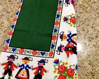 Vintage Decorative Linen cotton Scandinavian german  Tea Kitchen Towel Red and green floral