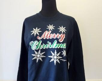 Vintage Merry Christmas Sweatshirt 1991