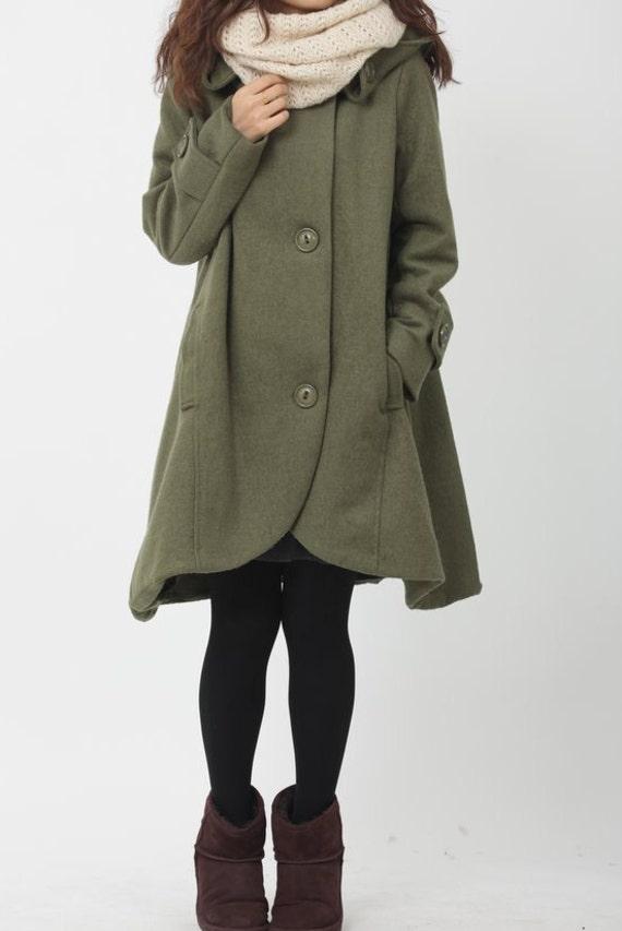 Army Green cloak wool coat Hooded Cape women Winter wool coat