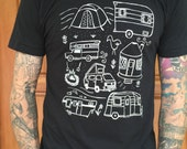 Campground - Mens/Unisex Black T Shirt S M L XL - Hand Screen Printed On American Apparel