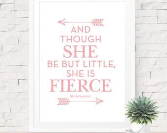 Though She Be But Little She Is Fierce Shakespeare, Pink Art Print, Pink Arrow Art, Modern Baby Art, Arrow Art, Baby Shower Decoration