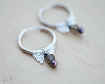 Gemstone Crochet Earrings - Sterling Silver Hoops - Geometric Crochet Earrings - Minimal Beaded Crochet - Modern Greek Jewelry