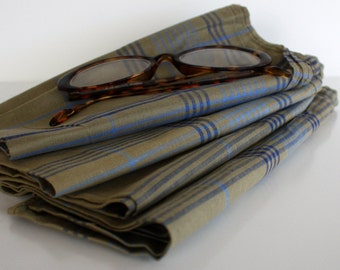 Gift for Him/ Gifts for Dad / Plaid Handkerchief Set / Old School Practical Gift / Never Issued Vintage Military Handerchiefs