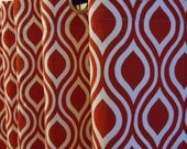 "Grommet Top Curtains 50"" wide in Lipstick Red and White Nicole Drapery Panels Choose Your Length"