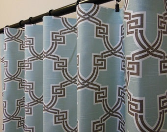 Blue Red or Coral Hiro Modern Curtains Rod Pocket  63 72 84 90 96 108 or 120 Long by 24 or 50 Wide