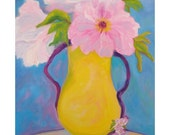 Original Oil Painting  Peony , Yellow Vase Pink Flowers, Shirin Mackeson
