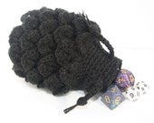 Scale Dice bag Black pouch / crocodile stitch