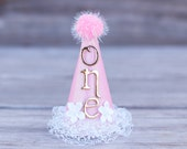 First Birthday Mini Party Hat in Baby Pink and Gold - Mini Hat - First Birthday Hat - Princess Crown
