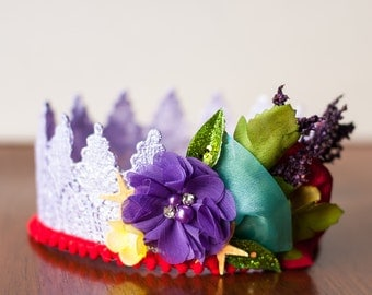 Ariel Birthday - Lace Crown in Purple - Mini Crown - Baby Lace Crown - Shabby Chic - Princess Crown