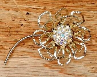 Vintage Flower Brooch Pin Gold and AB Crystal Rhinestone