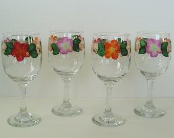 Hawaiian Hibiscus Flowers Hand Painted Wine Glasses set of 4