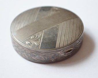 SALE Vintage Sterling Silver German Style Art Nouveau Etched Compact Pocket Mirror