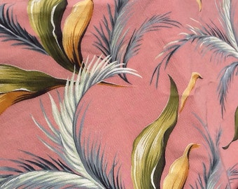 Barkcloth fabric NOS rose greens tropical foliage cotton rayon 3 1/3 yards