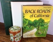 California Themed Coffee Table Book Collection Vintage Large Books Home Decor Yellow Green White Illustrated