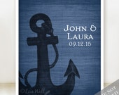 Anchor Together - Custom Nautical Wedding Name Date Print - Personalized Wedding Gift - Bridal Shower Gift - Engagement Present - Unframed