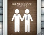 Groom Loves Groom - Gay Custom Wedding Name Date Print - Personalized Wedding Gift - Engagement Present - Unframed