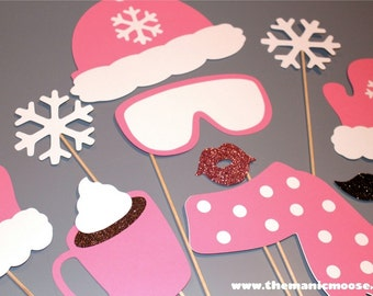 Winter Photo Booth Props - 10 piece set - GLITTER Photobooth Props - Snow Bunny, Ski Bunny Pink