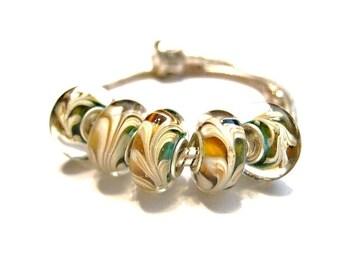 5  Aqua /Teal & Cognac Plume, Glass Lampwork,  European Style Spacer Slide Charm Bracelet Beads