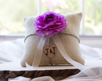 Custom ivory burlap ring bearer pillow shabby chic with engraved heart  initials... many more colors available