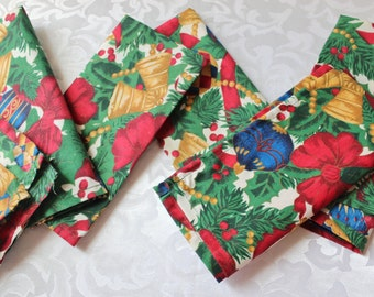 Vintage Christmas Cloth Napkins 6 Bells and Ornaments