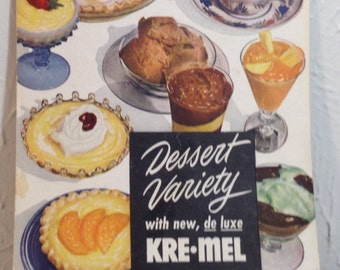 Vintage 1949 dessert variety with new de lux kre Mel recipes.