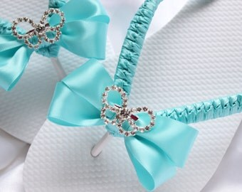 Bridal Flip flops, Aqua bridal shoes butterfly, bridesmaid flip flops, wedding sandals, bridal flats slippers, pool wedding flip flops