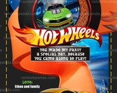 Hot Wheels Thank you Card, Hot Wheels Party, Hotwheels Thank you Note