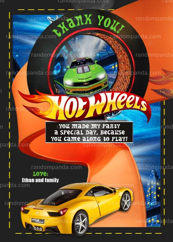 Hot Wheels Thank You Card Hot Wheels Party By Therandompanda